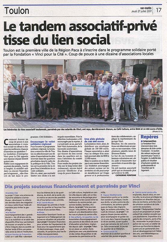 Cité Solidaire Toulon Remise de chèque